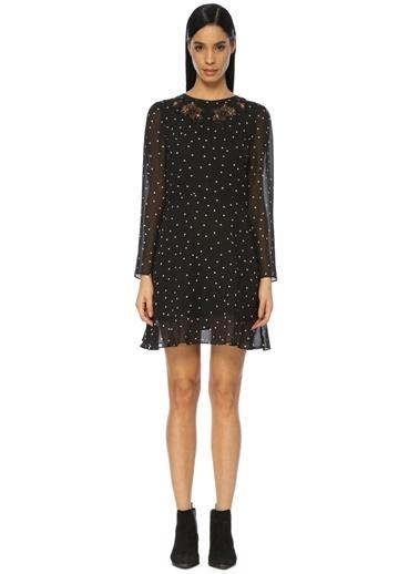 Uzun Kollu Puantiyeli Şifon Elbise-The Kooples